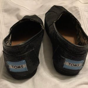 Toms Shoes - Girls Youth Black Glitter Toms